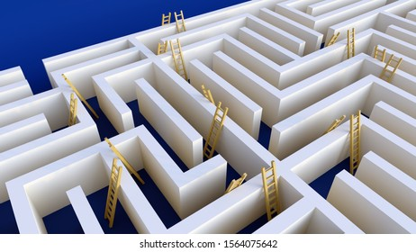 labyrinth ladder alternative solution strategy challenge 3D illustration