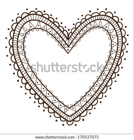 Lace Heart Frame Sketch Design Element Stock Illustration 170537075 ...
