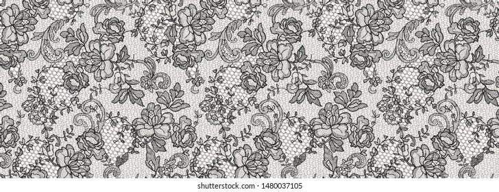 lace and lace-looking flowers print pattern