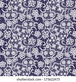 Lace seamless pattern with flowers on navy background. raster version