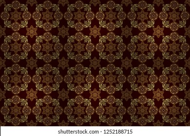 Laconic wedding card decorated with raster golden ornament on a brown background. Classical invite sample seamless pattern with lace damask pattern. Announcement card in a simple design.