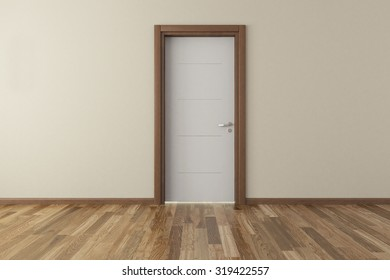 lacquer door with wall and parquet 3d model rendering