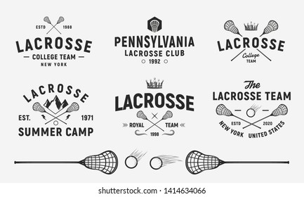 Lacrosse emblems, logos, badges templates. Set of 6 Lacrosse logos and 3 design elements.  Lacrosse stick and ball isolated on white background.