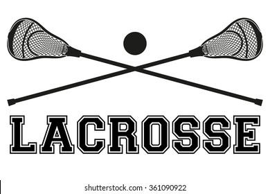 Lacrosse sticks and ball. Flat and silhouette style. Sport Equipment Front View.  illustration isolated on white background.