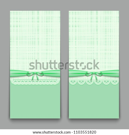 Lacy Green Cards With Ribbon And Bow Template For Wedding Invitations Congratulations Newborn