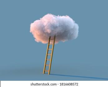 escalera a la nube, ilustración 3d