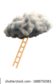 Ladder with cloud. Motivational concept degisn isolated on white background. Made with 3d rendering...
