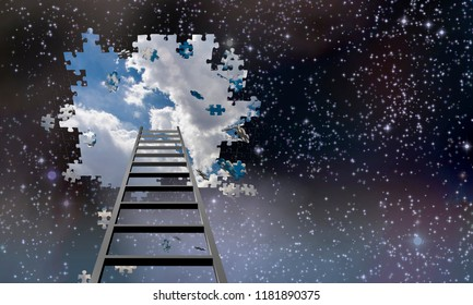 Ladder to Hole in Night Sky Reveals Day Time Skies. 3D rendering