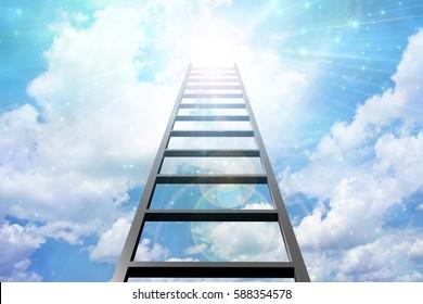 Up Ladder into sky and light   3D Render