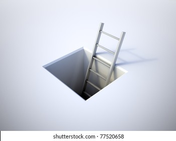 A ladder leading from underground