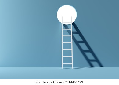 Ladder leading to white openeing over blue background, success, achievement or career opportunity concept, 3D illustration