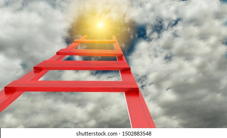 ladder leads to sun sky sun - 3d rendering