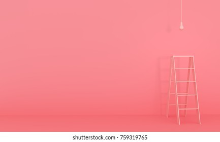 Ladder and light bulb on pink background. minimal concept. 3D rendering.