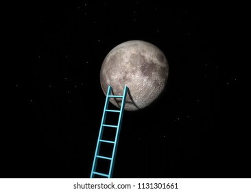 Ladder to the Moon. Elements of this image furnished by NASA. 3d illustration