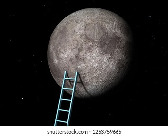 Ladder to the Moon. Elements of this image furnished by NASA. 3d  rendering illustration
