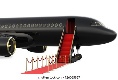 Ladder private jet and red carpet, 3d rendering isolated on white background