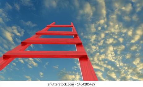 ladder sky success challenge future ambition goal - 3d rendering