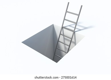 ladder in square hole over white surface help 3d illustration