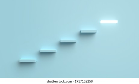 The ladder of success that sparkles. 3D Render