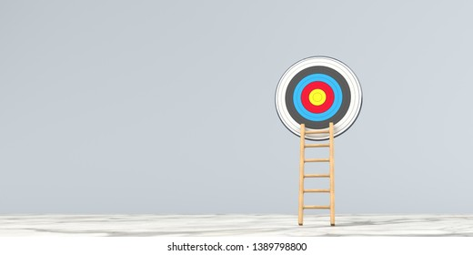A ladder with a target. 3d illustration.