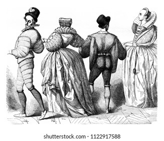 Ladies and Gentlemen of about 1584, vintage engraved illustration. Magasin Pittoresque 1855.