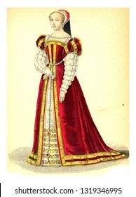 Lady of the court of Francis I, vintage engraved illustration. 12th to 18th century Fashion By Image.