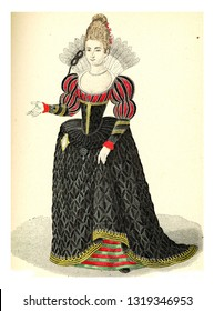 Lady of the Court of Henry IV, vintage engraved illustration. 12th to 18th century Fashion By Image.