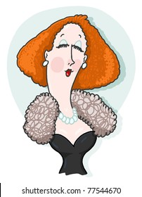 Lady freehand illustration; Upper class woman wearing fur and pearls necklace cartoon