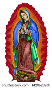 lady of guadalupe mexico saint holy faith illustration religious culture