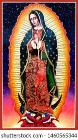 lady of guadalupe mexico saint holy faith illustration religious culture stars