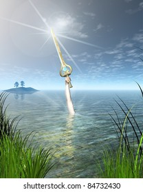 The Lady of the Lake Ninianne or Nimue from Arthurian legend holding the enchanted sword Excalibur above the water, 3d digitally rendered illustration