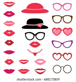 Lady photo booth set with hats, glasses and lips