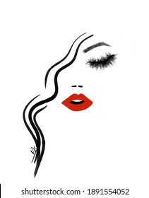 Lady with red lipstick and dramatic eyelashes
