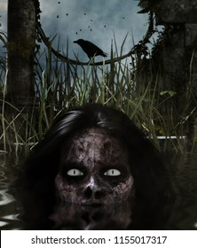 Lady zombie in the water,3d illustration, Mixed media for book illustration or book cover