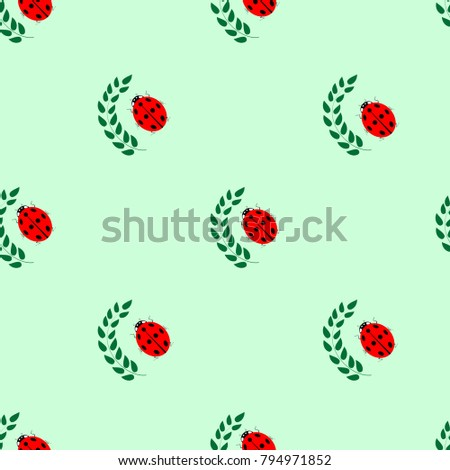 Royalty Free Stock Illustration of Ladybird Leaf Seamless Pattern ...
