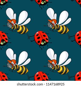 ladybug and bee seamless pattern, cartoon characters quirky background.