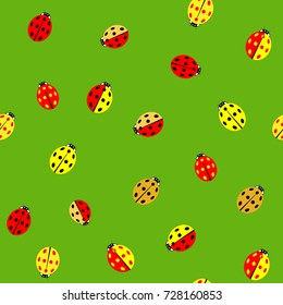 ladybug color chaotic seamless pattern fashion stock vector royalty
