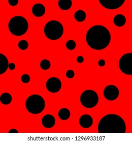 Ladybug pattern. Seamless . Seamless with red background and black spots