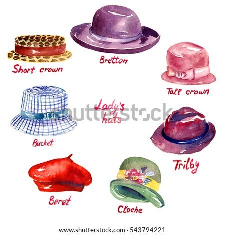 Ladys Hats Types Short Crown Bretton Stock Illustration 543794221 ... 0bd4b3808952