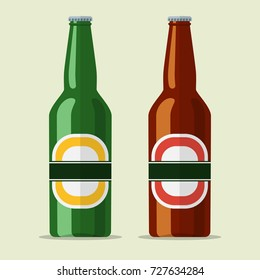 lager bottle beer icon isolated on background. illustration in flat style Raster version