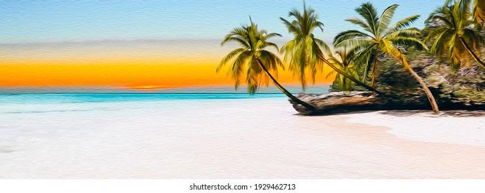 Lagoon. Oil painting imitation. 3D illustration.
