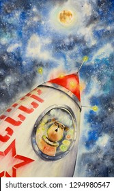 Laika - first dog astronaut in a spaceship flying in the Space. Picture created with watercolors.
