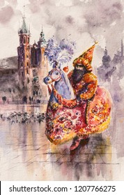 Lajkonik (man and horse) one of the symbols of the Cracow. Mariacki church in background. Picture created with watercolors.