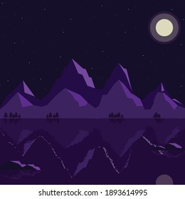 lake by the mountains landscape purple