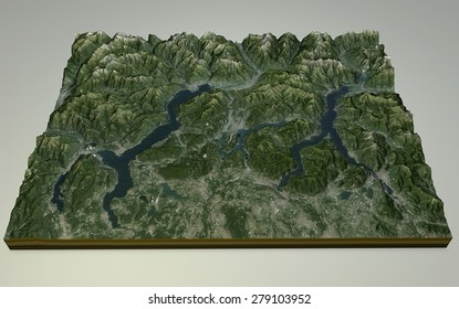 Lake Maggiore, Lake Como and Lecco satellite view, mountain ranges, Italy. Element of this image are furnished by NASA