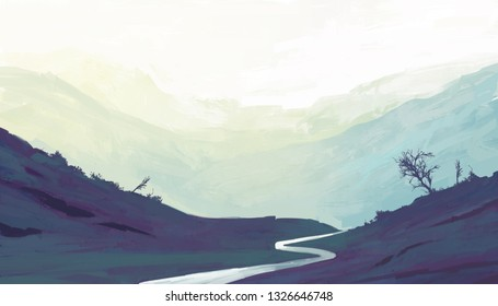Lake in mountains. Illustration painting
