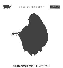 Lake Okeechobee Blank Map Isolated on White Background. High-Detailed Black Silhouette Map of Lake Okeechobee.