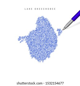 Lake Okeechobee sketch scribble map isolated on white background. Hand drawn map of Lake Okeechobee.