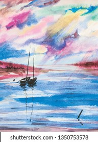 Lake sea boat sailer watercolor sea water waves sunset dawn sun rays gentle color juicy texture illustration panorama mountains hill reflection shining clouds sky. travel romance scenery. Hot islands.