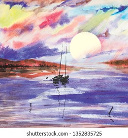 lake sea boat sailer watercolor sea water waves sunset dawn sun rays gentle color juicy texture illustration panorama mountains hill reflection shining clouds sky